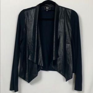 G by Giuliani black open front jacket size Med.